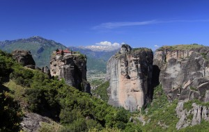 "View of Agia Trias (""Holy Trinity"") Monastery, built on top of one of Meteora's rock pinnacles."