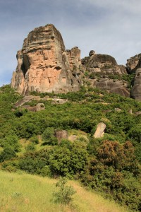 Looking at the rock pinnacle where the Holy Trinity Monastery resides.