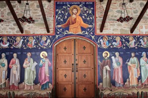 Doorway and fresco in the Great Meteoro Monastery.