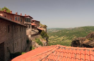 Looking out from the Great Meteoro Monastery.