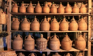 Many wine jugs displayed in the cellar inside the monastery.