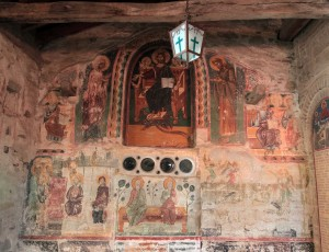 An old fresco on the side of the church in the Great Meteoro Monastery.