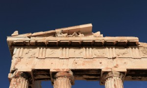 Closeup of the east pediment on the Parthenon.