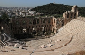Closer view of the Odeon of Herodes Atticus.
