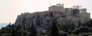 The Athenian Acropolis with the Temple of Athena Nike on the right.
