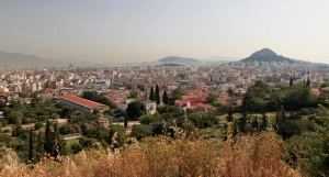 Athens with the Ancient Agora to the lower left (with the completely restored Stoa of Attalos visible).