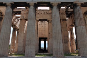 Closeup view of the Temple of Hephaistos and its Doric columns.
