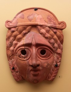 A tragic terracotta mask (circa 200-250 AD).