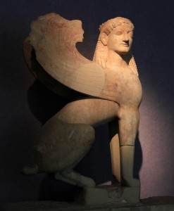 Sphinx that once crowned a grave stele (560-550 BC).