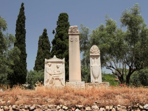 Funeral stelae in the Kerameikos archaeological site.