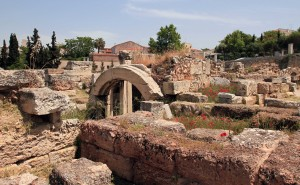 An arch amongst the ruins at the Kerameikos archaeological site.