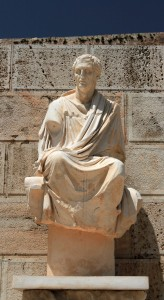 Reconstruction of a statue of Menander, a Greek dramatist and the best-known representative of Athenian New Comedy.