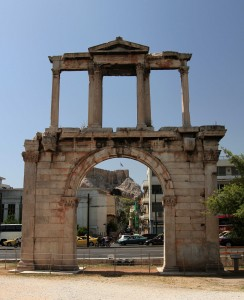 Hadrian's Arch - a triumphal arch built in 132 AD to honor their benefactor emperor, Hadrian.