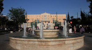Syntagma Square, with the Old Royal Palace in the background.