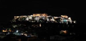 The Athenian Acropolis at night.