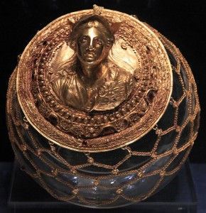 Golden medallion with relief bust of the goddess Athena (2nd-century BC).