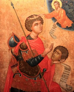 St. George Kephalophoros, holding his severed head (late 16th- to early 17th- century AD, from a Cretan workshop).