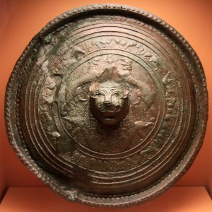 Bronze shield with repoussé decoration, from Eleutherna, Crete (830-730 BC).