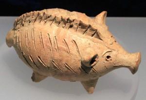 Terracotta zoomorphic rattle (Cypro-Archaic II, 600-480 BC).