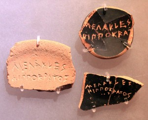 "Potsherds (""ostraka"") used as voting tokens; the person nominated was Megakles, son of Hippokrates, who was exiled (ostracized) in 486 BC."