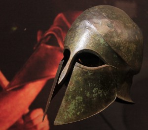 Bronze helmet of the Corinthian type (late 6th-century BC).