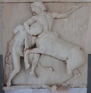 Centaur overcoming a Lapith, taken from the south metope of the Parthenon.