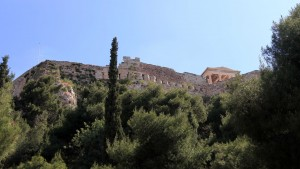 Looking up at the Acropolis with the Erechtheion in view.