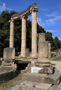 The Philippeion at the ancient site of Olympia, which was donated by Philip II after the battle of Chaeronea in 338 BC.