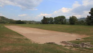 The track used for the Ancient Olympic Games - which were held between 776 BC and 393 AD -, inside the Stadium at Olympia.