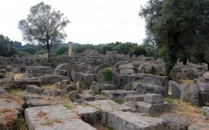 Ruins at Ancient Olympia, with the Temple of Zeus in the background.