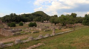 The Ancient Olympia archaeological site, seen from the Leonidaion Thermae.