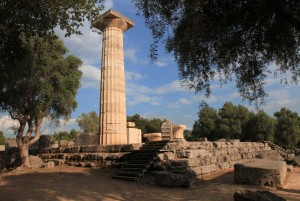 Corner of the Temple of Zeus, which once contained the contained the Chryselephantine Statue of Zeus (made from gold and ivory) - one of the Seven Wonders of the World.