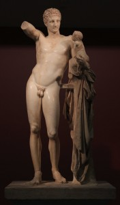 Hermes of Praxiteles (found during excavations at the Temple of Hera, circa 340-330 BC).