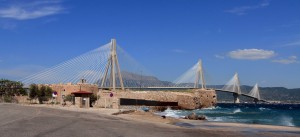 The Rio–Antirrio Bridge, one of the world's longest multi-span cable-stayed bridges and the longest of the fully suspended type; it crosses the Gulf of Corinth near Patras, linking the town of Rio on the Peloponnese peninsula to Antirrio on mainland Greece.