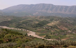 Looking at the valley southwest of Berat.