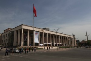 The National Theater of Opera and Ballet of Albania, located on Skanderbeg Square.