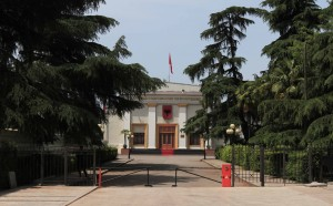 The Albanian Parliament building.