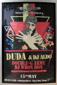 """Poster for """"Duda and DJ Aldo,"""" found on the streets in Tirana."""