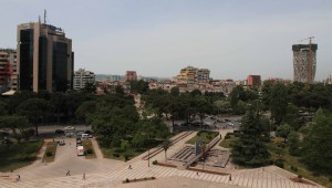 """View from the top of the """"Pyramid of Tirana."""""""