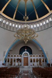 Inside the Resurrection of Christ Orthodox Cathedral of Tirana.