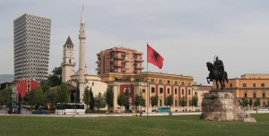 Skanderbeg Square with the equestrian statue of Skanderbeg and Et'hem Bey Mosque and the Clock Tower in the background.