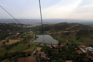 """Looking back at Tirana while riding the cable car (the """"Dajti Ekspres"""") up to Mount Dajt."""