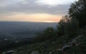 Looking west at the sunset and the Adriatic Sea.
