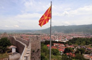 The Macedonian flag seen from the towers at the entrance to Samuil's Fortress.