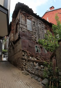 A dilapidated home that is out of place in the old town of Ohrid (which is mostly full of well-maintained, beautiful structures).