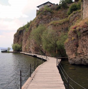 The boardwalk connecting the Kaneo Settlement with the old town of Ohrid.