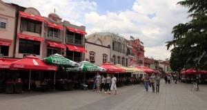 The main promenade in Ohrid.