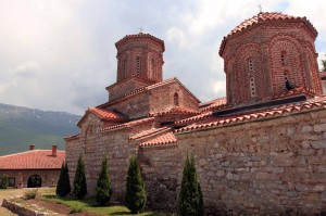 The church in St. Naum Monastery with the Galičica Mountains in the background.