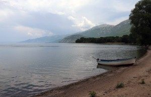 Boat on the beach by St. Naum Monastery.