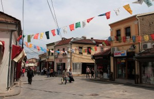 "Inside the Old Bazaar (with more ""Welcome to Bitola"" flags)."